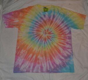Handmade PASTEL RAINBOW Spiral Tie Dye Festival T shirt UNISEX S S-5XL