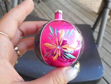 Vintage Glass Christmas Ornament Pink & Blue With Flowers