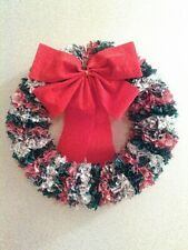 Fabric rag Christmas Wreath, red green white, red bow, 16""
