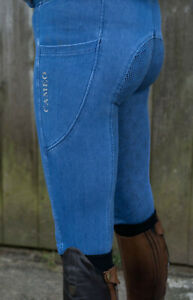 CAMEO LADIES PERFORMANCE DENIM RIDING TIGHTS WITH SILICON SEAT UK 6-14