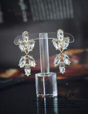 Costume Fashion Clip on Earrings Gold Dangle Chandelier Bridal Weddings J2