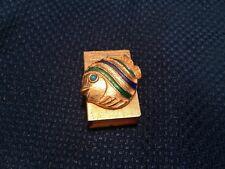 Vintage Florenza Gold Enamal Fish Match Box Matchbox