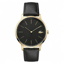 Lacoste Mens Moon Leather Water Resistant Elegant Watch - Black