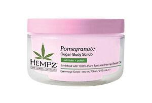 Hempz Herbal Pomegranate Sugar Body Scrub 7.3 oz / 176 gms natural hemp seed oil
