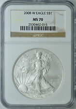 2008-W AMERICAN SILVER EAGLE BURNISHED NGC MS70