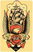 USNR NAVY 1946 Mast Ship Sailor Jerry Traditional Tattoo style Flash print USA
