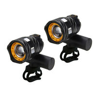 2pcs 15000LM T6 LED Zoomable USB Head Lamp Mountain Bike Bicycle Light w/Battery
