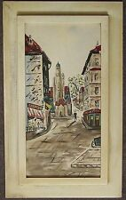 ORIGINAL MID-CENTURY FRENCH WATERCOLOR SIGNED ROSETTE