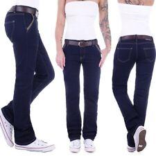 Damen Jeans Relaxed Fit Loose Straight Leg Hose Gerader Schnitt Baggy Blau D51