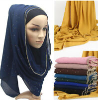 Women Rhinestones Chiffon Hijab Long Scarf Muslim Scarves Head Wrap Shawl