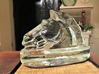 MCM Vintage HORSE HEAD Bookend Clear Glass Figurine Statue