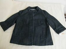 Ladies Petite Small Dark Wash Blue Denim Talbot's Stretch Jacket 3/4 Sleeves