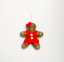 Felt Festive Red Dress Gingerbread Girl Xmas Hanging Decoration 12x8cm
