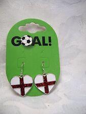 England Football Supporter Drop Earrings Goal England Flag Red White Heart