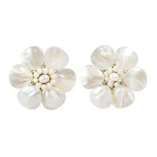 Pretty White Mother of Pearl Flower Clip On Earrings