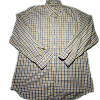 Peter Millar Mens Blue Yellow Brown Check LS Button Down Dress Shirt Size Large