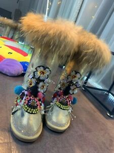 Women's Warm Snow Boots Leather High Tube Gold Lizard Pattern Rhinestone Boots