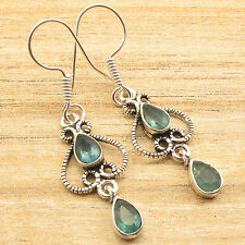 Green APATITE 2 Gemstones Everyday Earrings 1.8 Inch, Silver Plated