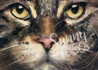 "ACEO Print AQUA KITTY by Puci orange tabby cat paw pet portrait smile 2.5x3.5/"""