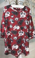 NEW Plus Size 2X Red Floral Blouse Top Shirt