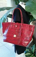 Dooney & Bourke Croco RED Leather TOTE Bag Purse Large