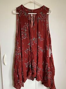 Free People Tree Swing Printed Tunic Sleeveless Dress Top Black / Crimson