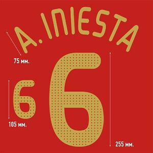 A. Iniesta 6. Spain Home football shirt 2008 - 2009 FLEX NAMESET NAME SET