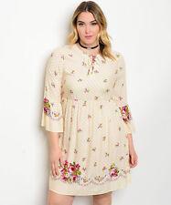 Angela Plus Size Boho Festival Hippi Dress Cream Floral Lace Up Front Size 3XL