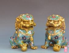 China refined Cloisonne Enamel color male and female lion