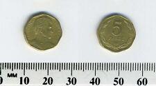 Chile 1995 - 5 Pesos Aluminum-Bronze Coin - Gen. Bernardo O'Higgins bust