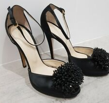 Worn once WITCHERY black silk beads leather platform peeptoe pumps AU8 EU39