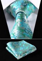 Mens Wedding Tie Teal Turquoise Blue Green Floral  Silk FREE Hanky Set 512