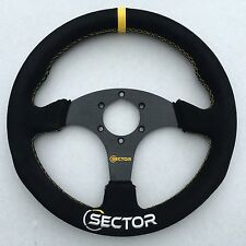 Sector Racing 330mm Flat Sport Drift Suede Alloy Steering Wheel YELLOW 320