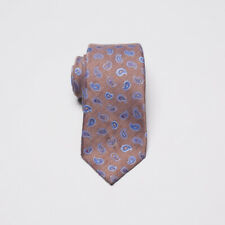 Isaia Napoli Tie Light Brown Blue Paisley Wool Silk Blend with 7-Fold