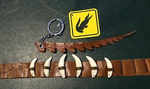 Buffalo Leather Crocodile prints hat band with 6 teeth+ key ring  fits all hats