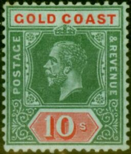 Gold Coast 1916 10s on Blue-Green Olive Back SG83a Fine MNH
