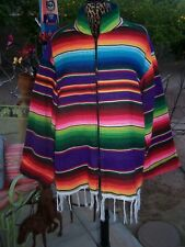 OOAK Vintage Southwestern Serape Blanket Fringe Coat Jacket~XL~Handmade Western