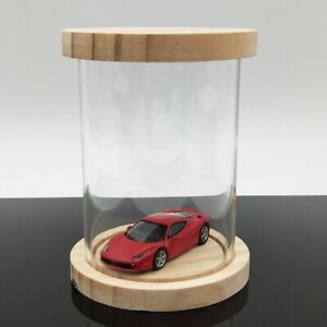 Display Boxes Stand Dust-Proof Storage Acrylic Case Round Hand Model Car 12.5cm