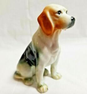 "Beagle Puppy Dog Pet Animal Bone China Figurine Sitting 3"" Tall"
