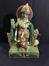 "14"" Handmade Real Green Pizer Lord Krishna Statue Decorative Wedding Gift Decor"