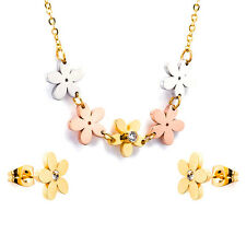 Stainless Steel fashion Jewelry Set, Twotone Floral Necklace and Stud Earrings