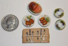 Lot of Dollhouse Miniature Food Ham Platter Plates Bowls1:12 one inch scale H131