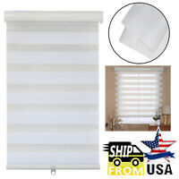 Zebra Blinds Shade Day Night Dual Layer Window Curtains Horizontal White Brown