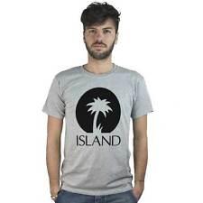 T-Shirt Island, maglietta grigia con logo nero Musica Reggae, dub roots, Jamaica