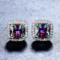 Mystic  18K Gold Plated Stamped Rainbow Topaz Stud Earrings Womens 8MM