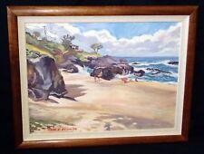 "Hawaii Koa Framed Oil on Canvas Painting ""Lanikai Kailua"" by Mark N Brown (Yep)"