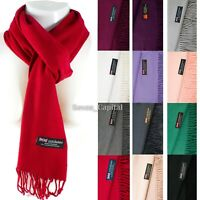 Mens Womens Winter Warm SCOTLAND Made 100% CASHMERE Scarf Scarves Plain Wool