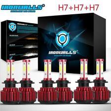4 Sides H7+H7+H7 Combo LED Headlight Light Bulbs High Low Fog Light White 6500K