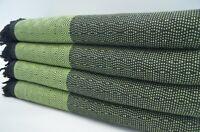 Pure Cotton Turkish Green Black Bedspread, Beach Blanket, Throw, Peshtemal