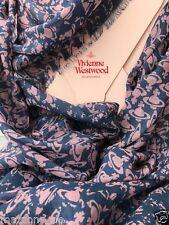 ☆ VIVIENNE WESTWOOD Schal, Tuch, scarf 70x170 blau rose Geschenkbox LP 209€